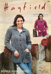 Hayfield ladies Aran knitting pattern 7895