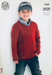 King Cole boys Aran knitting pattern 3388