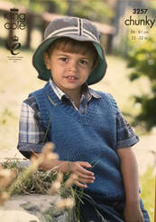 King Cole boy's Chunky knitting pattern 3257