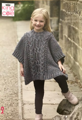 King Cole girls Chunky Poncho knitting pattern 5292