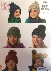 King Cole Super Chunky  hat pattern 3576