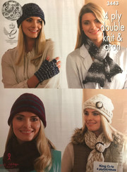 King Cole ladies hat, scarf & glove knitting pattern 3443