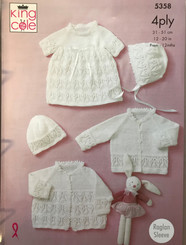 King Cole 4ply baby girl knitting pattern  5358