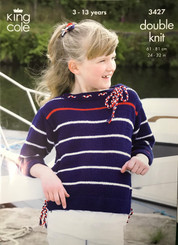 King Cole  girls DK knitting pattern 3427
