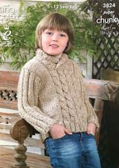 King Cole  boys super chunky knitting pattern 3824
