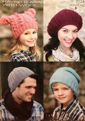 Hayfield Family hat  knitting patterns 7124