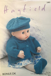Hayfield doll clothes DK knitting pattern 2483