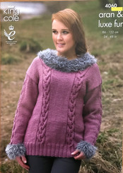King Cole ladies Aran knitting pattern 4060