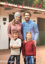 Hayfield family Aran knitting pattern 8166