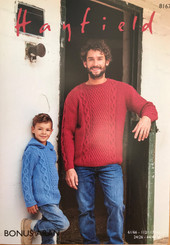 Hayfield Mens and boys Aran knitting pattern 8167