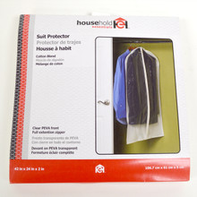 Suit protector. Cotton blend. Clear PEVA front. Full extension zipper. 42 inch x 24 inch x 2 inch.