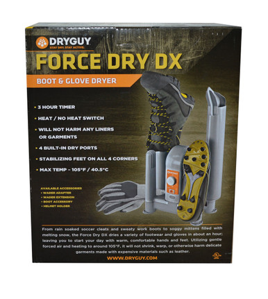 "The addition of two 14"" drying tubes enables the drying of boots up to 16"" in height. Just like the original model, the Force Dry DX can handle four garments at once."
