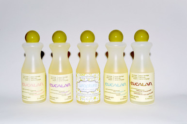 Eucalan is a non-toxic, biodegradable, phosphate free and eco-friendly alternative to dry cleaning. This natural lanonlin enriched formula is contained in a recyclable hdpe plastic bottle and works to clean and soften all fine washables. No Rinse Delicate Wash. Cleans & softens all fine washables with amazing results and no rinsing. Concentrate contains fiber restoring lanolin. Four scents neatly packaged, makes an instant gift. One of each scent (wrapture, eucalyptus, lavender, grapefruit, natural unscented) in the travel friendly 3.3 US fl.oz. / 100mL bottles.