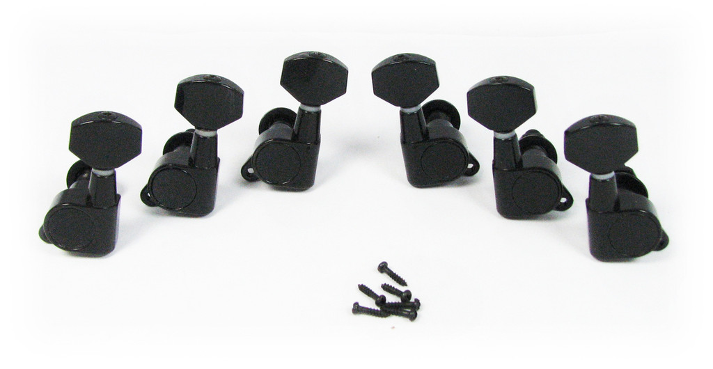Black Sealed-Gear Guitar Tuners/Machine Heads - 6pc. 3 left / 3 right