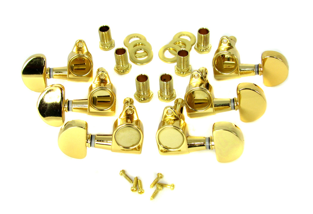 """6pc Gold """"Half Moon"""" 3L/3R Sealed-Gear Tuners"""