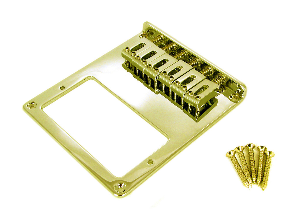 telecaster style bottom loading gold electric guitar bridge plate for humbuckers c b gitty. Black Bedroom Furniture Sets. Home Design Ideas
