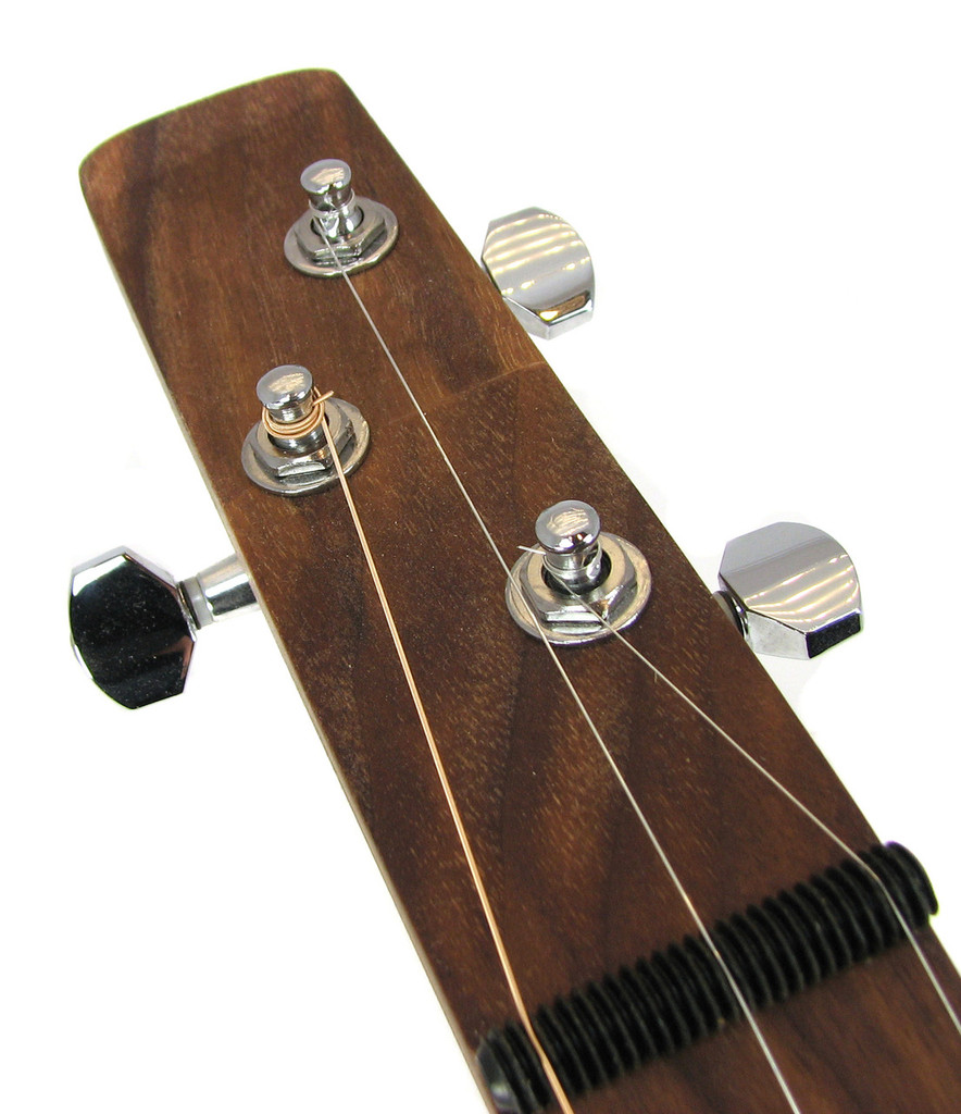 Installation example on one of our standard-model cigar box guitars. This shows the 2 Left / 1 Right set installed.