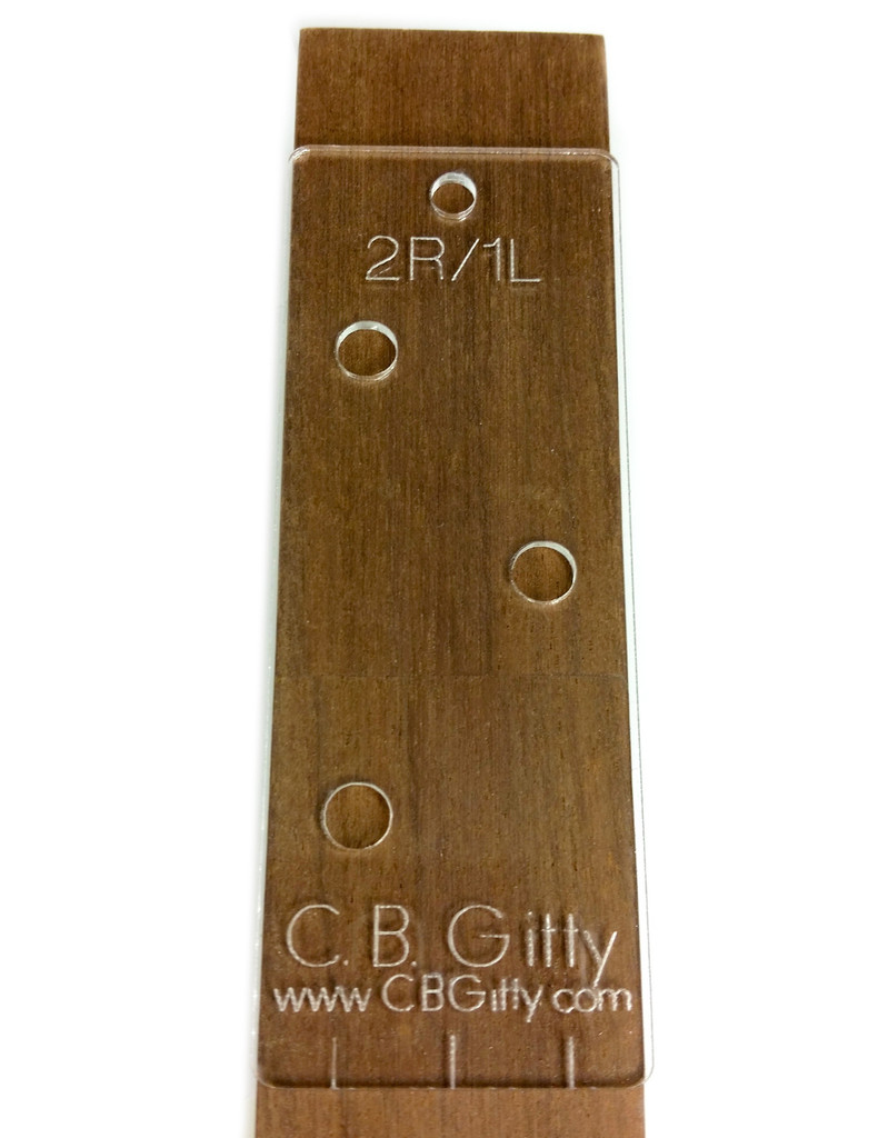 7pc. Cigar Box Guitar Headstock Drilling Templates for 3- and 4-string CBGs  - include string spacing guides