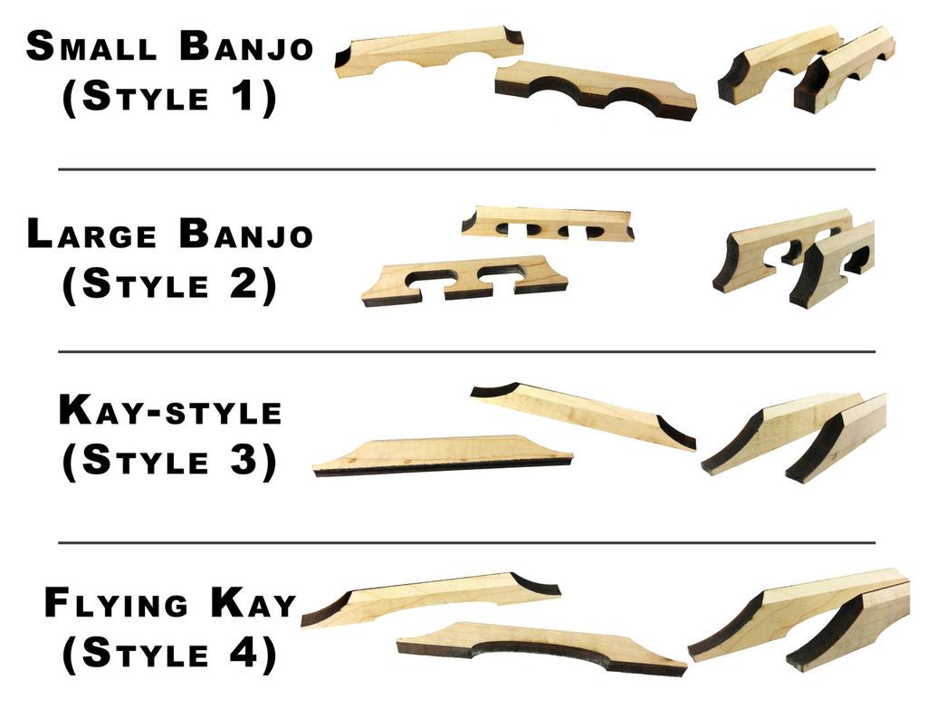 Laser-Cut Hardwood Bridge Blanks for Cigar Box Guitars - Choose Style, Wood and Quantity