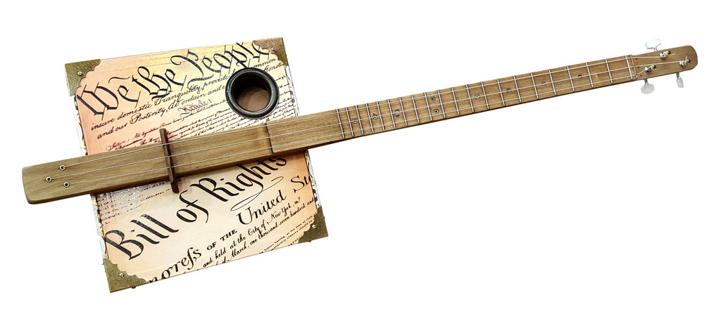 """""""Founder's Faith"""" 3-string Fretted Cigar Box Guitar featuring the U. S. Constitution & Bill of Rights"""