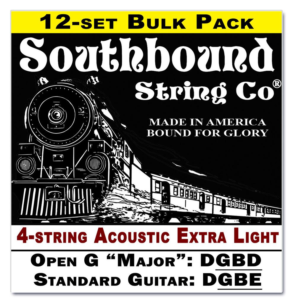 12-pack 4-string Cigar Box Guitar Strings - Open G Major/Standard Guitar Tuning - Acoustic Extra Light