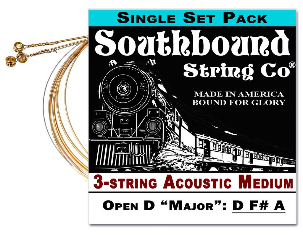 Acoustic Medium 3-String Cigar Box Guitar Strings - Open D Tuning - D F# A