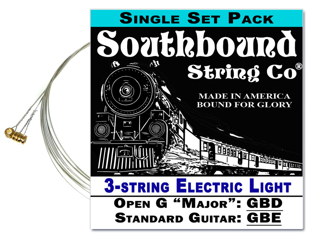 Electric Light 3-String Cigar Box Guitar Strings - Open G/Standard Tuning - GBD/GBE