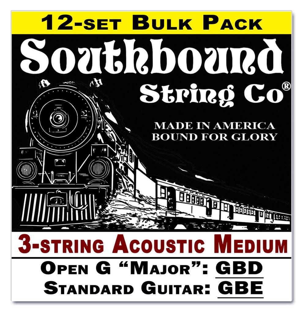 12 pack 3 string cigar box guitar strings open g major standard guitar tuning acoustic. Black Bedroom Furniture Sets. Home Design Ideas