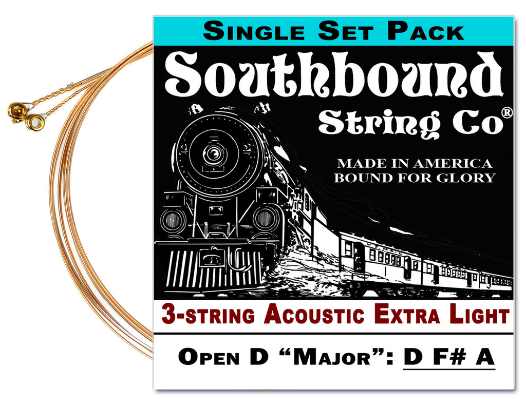 Acoustic Extra-Light 3-String Cigar Box Guitar Strings - Open D Tuning - D F# A