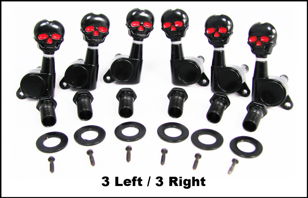 Black Skull Sealed-Gear Guitar Tuners/Machine Heads - 6pc. 3 left/3 right