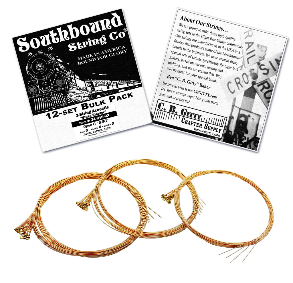 """12-pack 3-string CBG Strings - Low Open G """"Blues"""" GDG Tuning - Acoustic Medium"""