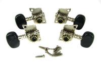 4pc. Black-Button Open Gear Ukulele Tuners - 2L/2R
