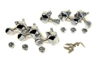 6pc Chrome 3 Left/3 Right Enclosed-Gear Guitar Tuners
