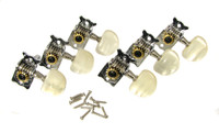 Parlor-style Chrome Open-gear Tuners - Dual-hole Shafts - 6-in-a-line Right