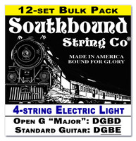 12-pack 4-string Cigar Box Guitar Strings - Open G Major/Standard Guitar Tuning - Electric Light