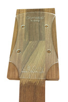"An example of the ""Dometop"" template placed on one of our extended headstock neck blanks, ready for tracing."