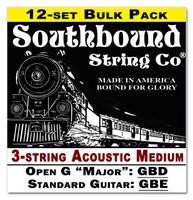 12-pack 3-string Cigar Box Guitar Strings - Open G Major/Standard Guitar Tuning - Acoustic Medium