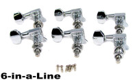 Chrome Sealed-Gear Tuners - 6pc. Inline Right-aligned