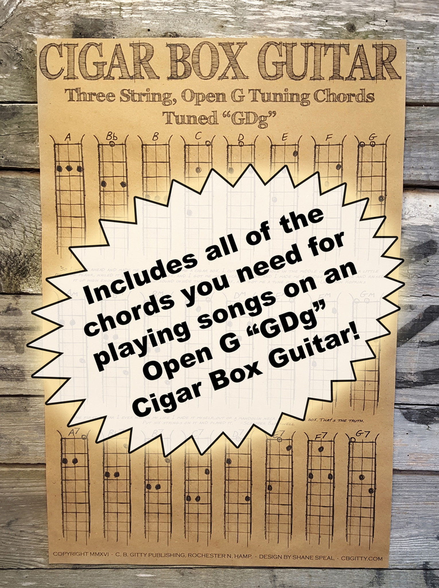 Three String Open G Chord Poster For Cigar Box Guitar