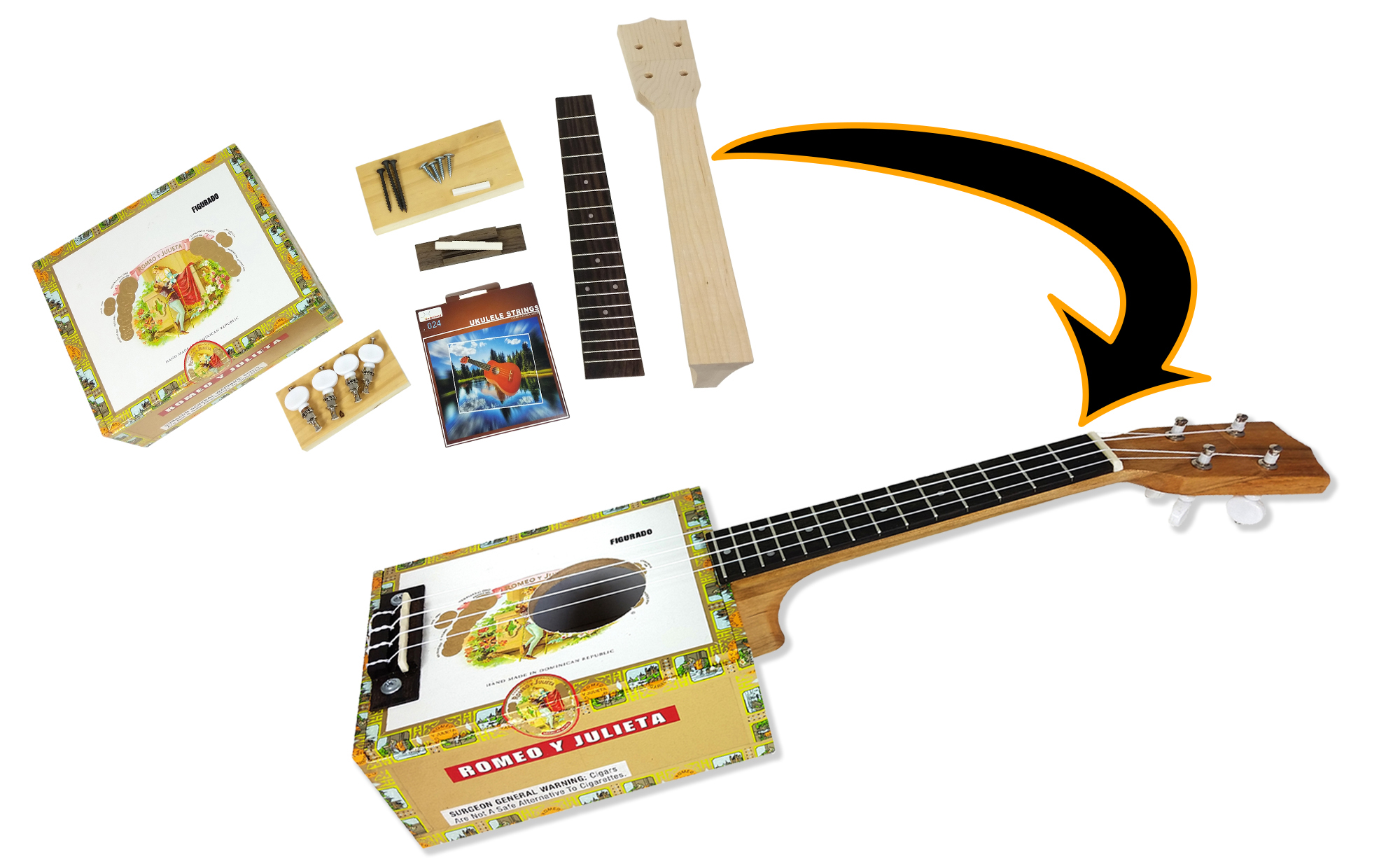 C. B. Gitty Cigar Box Ukulele Kit