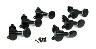 6pc Black 6-in-a-Line Sealed-Gear Tuners