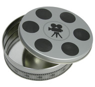 "1pc. Flat Round Tin - Small Film Reel (6 11/16"" Wide x 1 13/16"" Deep)"