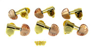 Mocha Pearloid Gold Tuners - Sealed Gear, 6pc. 3L/3R