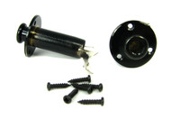 1pc. Black Screw-Mount Stereo Endpin/Strap Button Jack w/screws