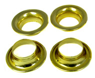 "4pc. #8 Brass Rolled-Rim Grommets - 1 7/8"" Outside Diam."
