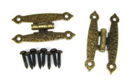 "2pc. Antique Brass Colonial-Style ""H"" Hinges with Screws - 2 1/2"""