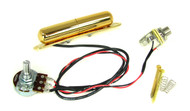 "Gold ""Lipstick Tube"" Single Coil Pre-Wired Pickup Harness w/ Volume Control"