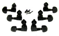 "6pc. Black ""Half Moon"" 3L/3R Sealed-Gear Tuners"