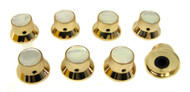 8-pack Shiny Gold Top Hat Knobs with White Pearl Tops
