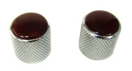 2-pack Chrome Dome Knobs with Red Agate Tops